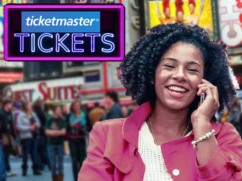 Lady on phone to Ticketmaster