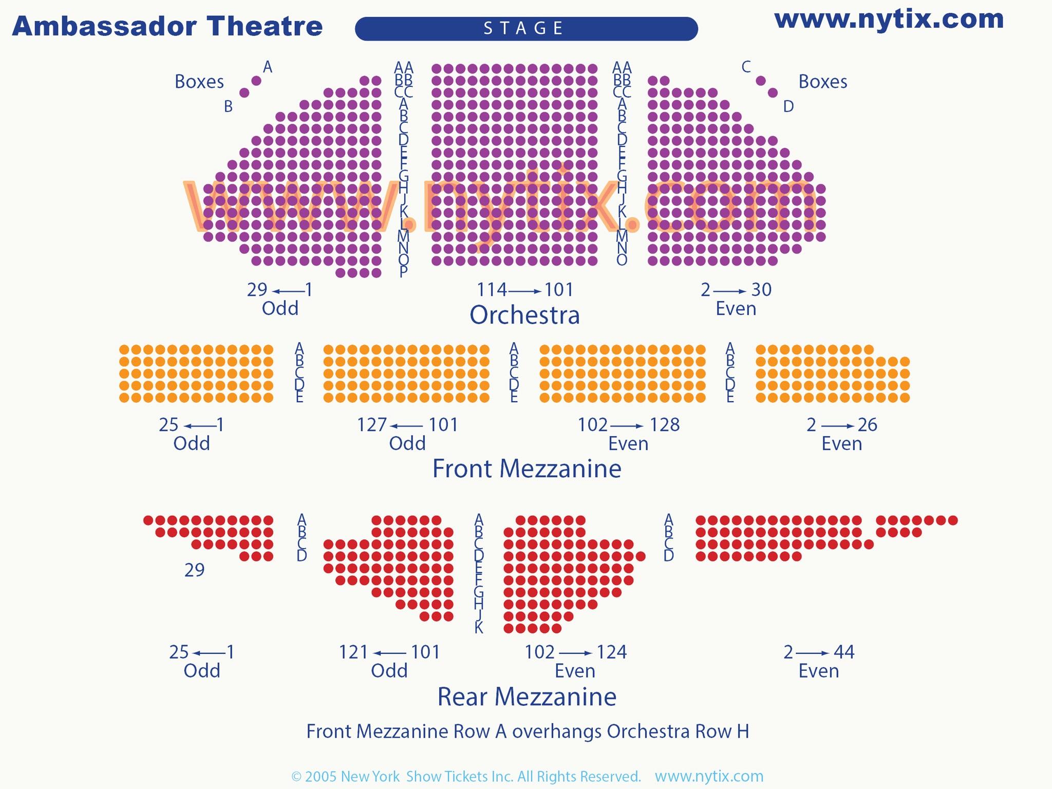 Ambassador Theatre Seating Chart