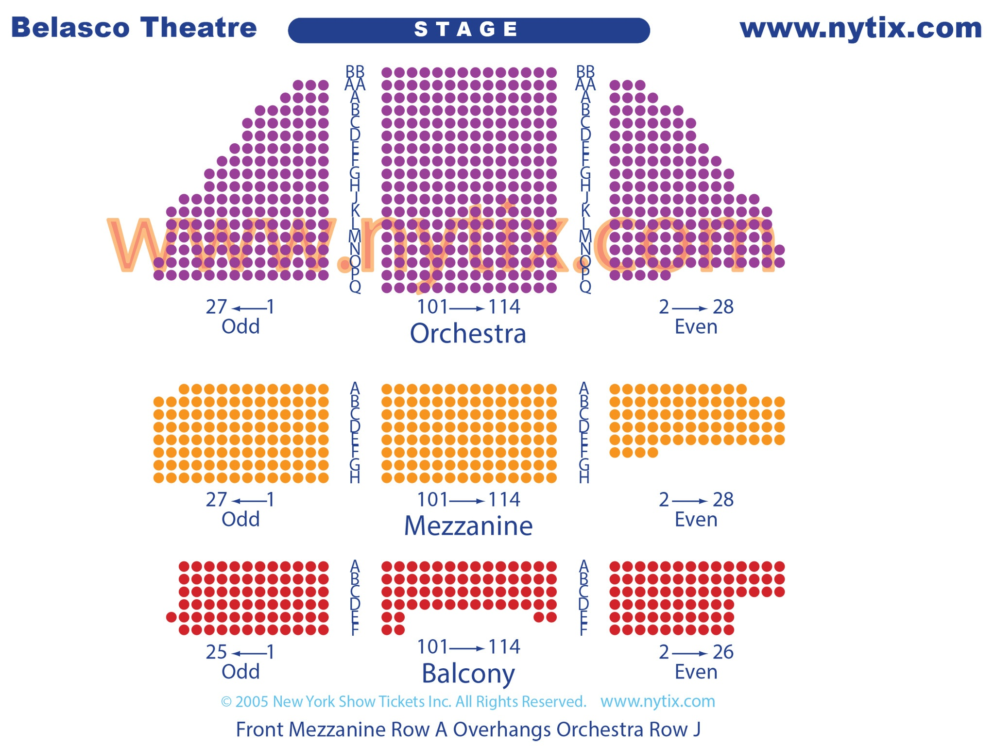 Belasco Theatre Seating Chart