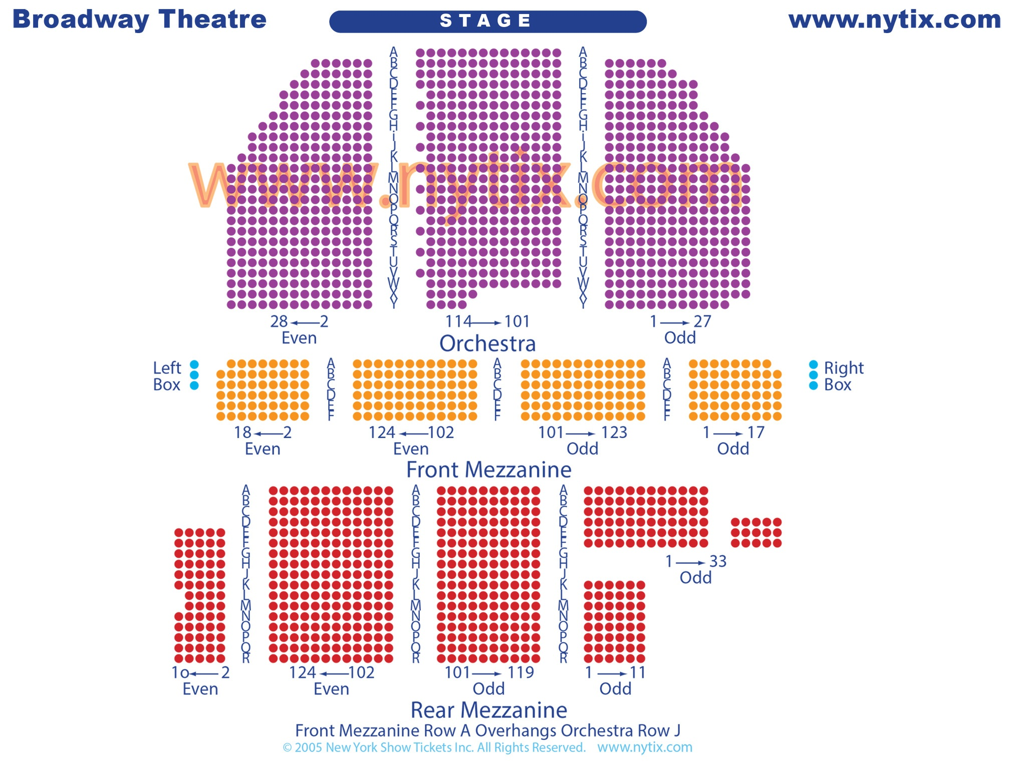 Broadway Theatre Seating Chart