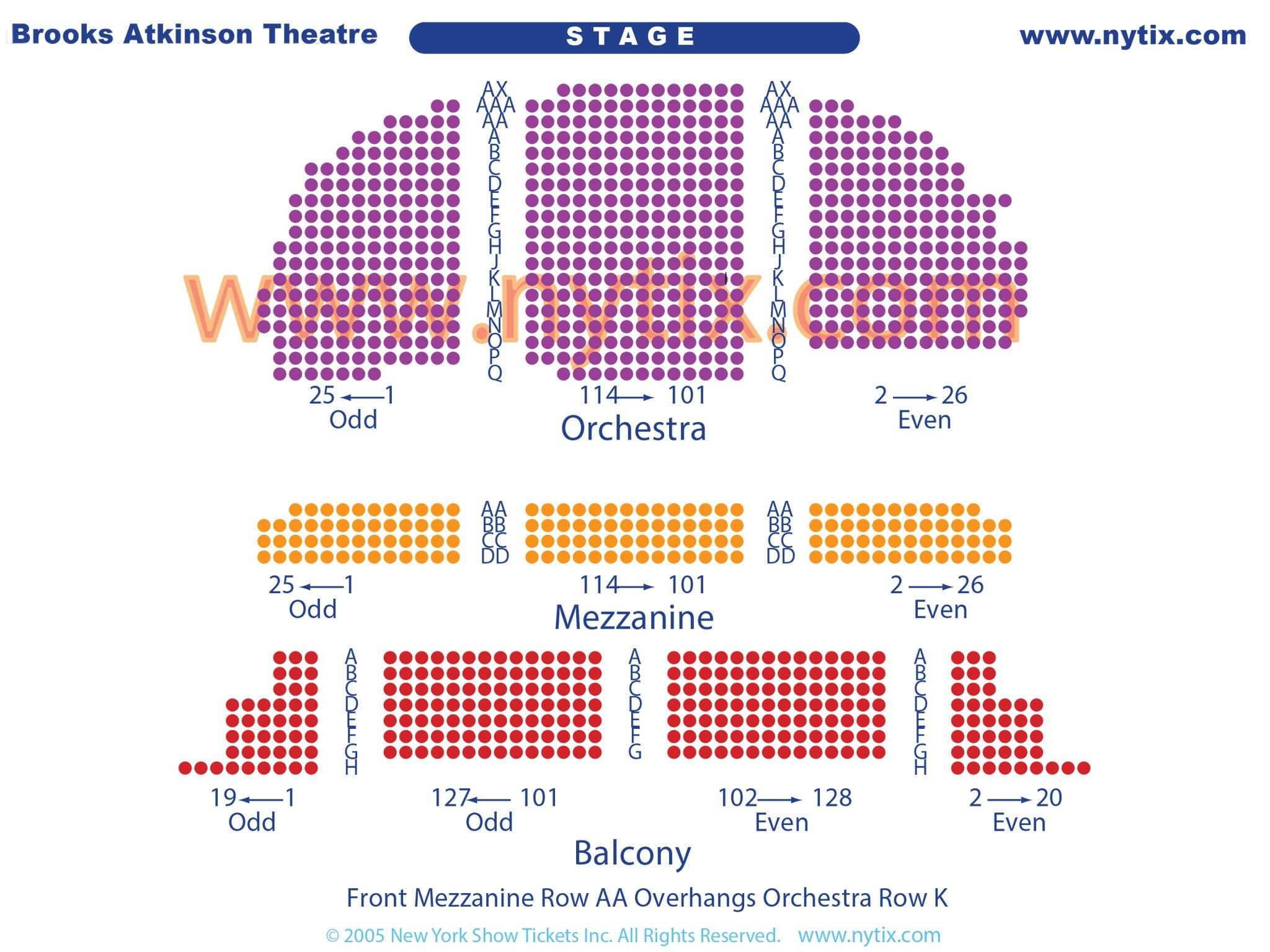 Brooks Atkinson Theatre Seating Chart