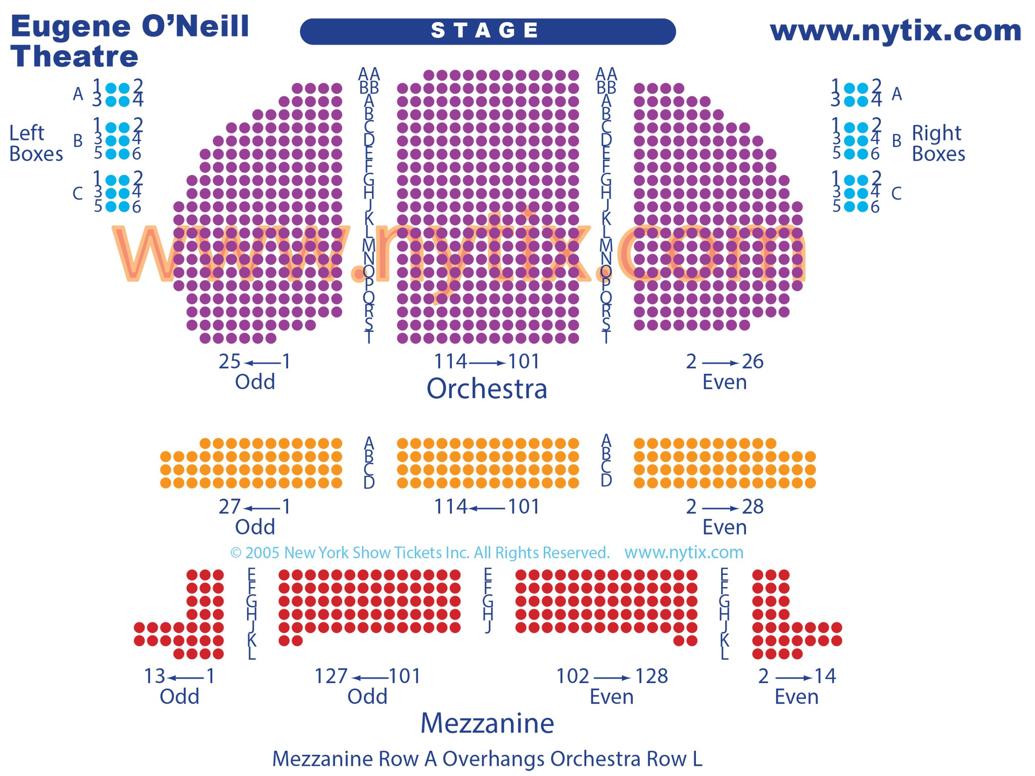 Eugene O'Neill Theatre Seating Chart