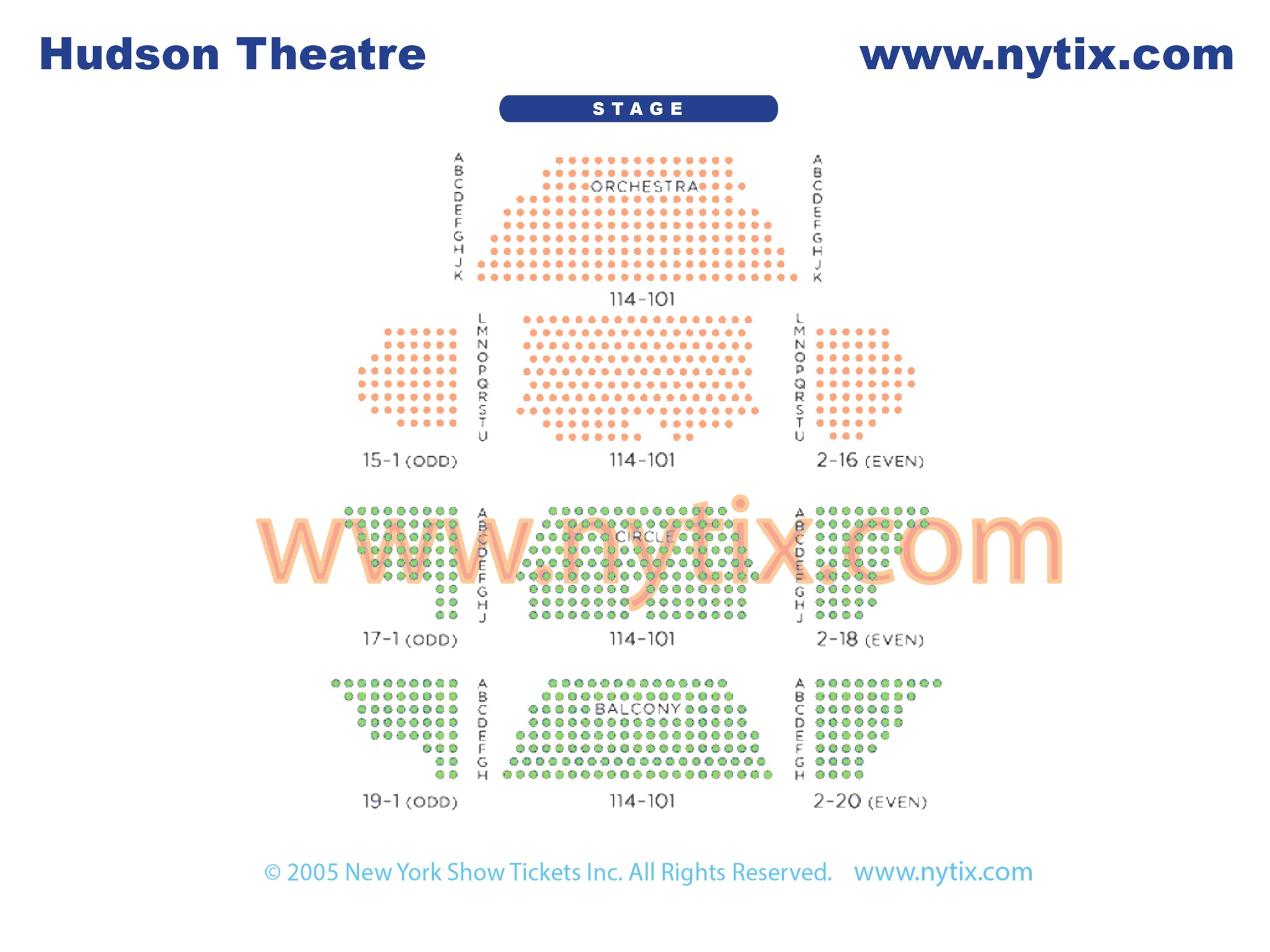 Hudson Theatre Seating Chart