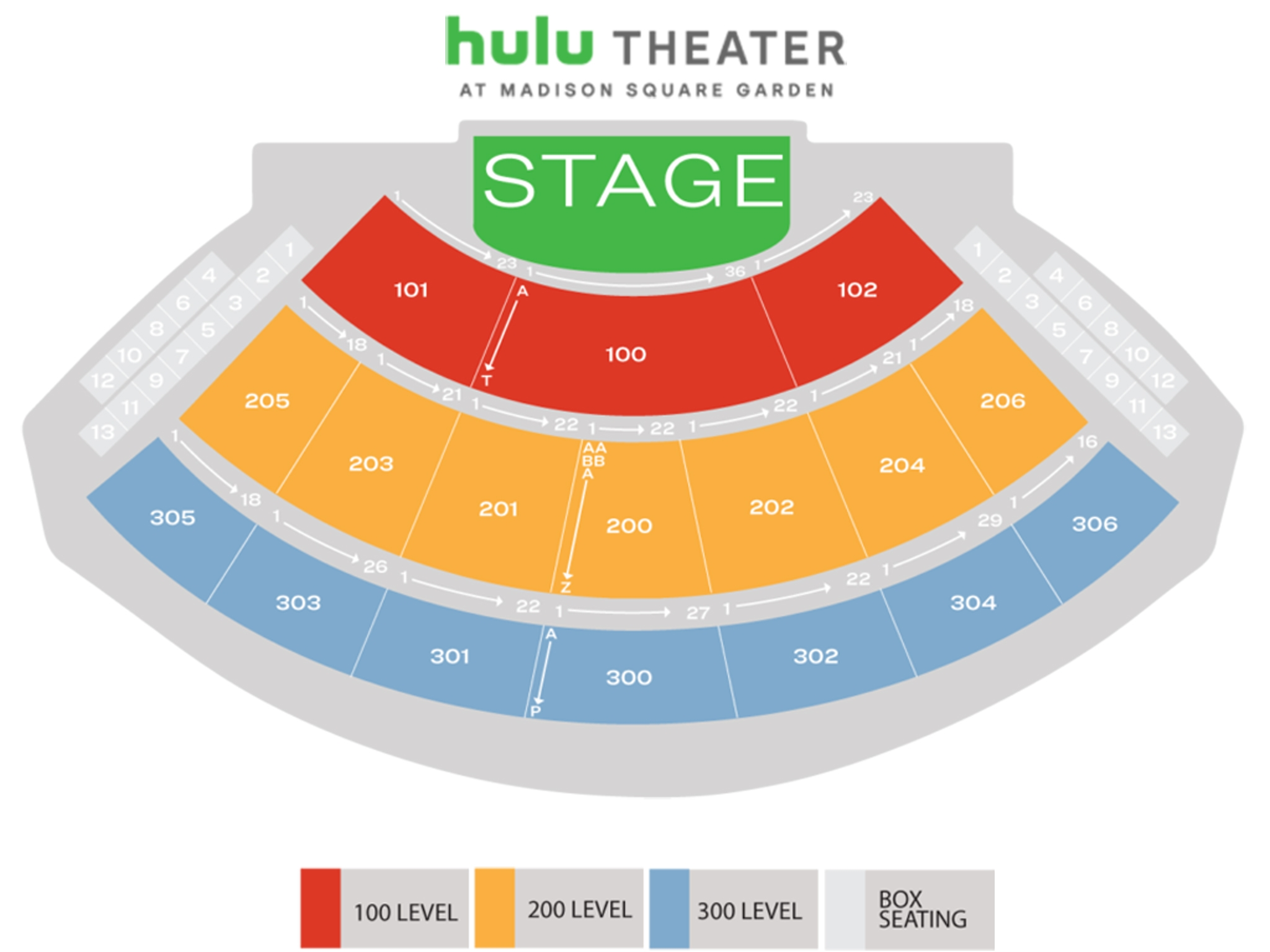 Hulu Theater at Madison Square Garden Seating Map