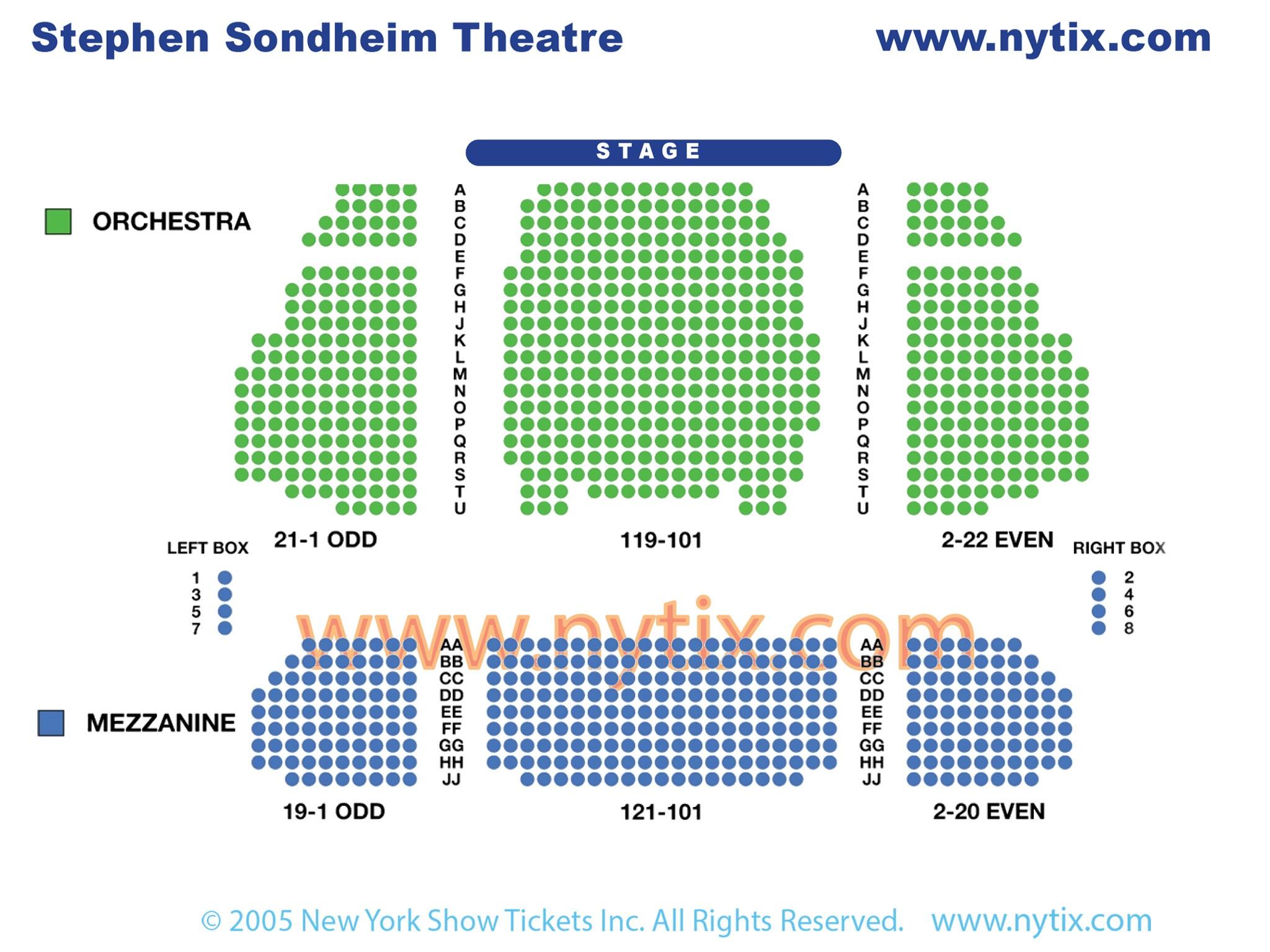 Stephen Sondheim Theatre Seating Chart